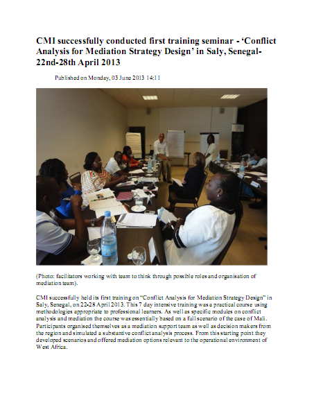 Conflict Analysis for Mediation Strategy Design' in Saly, Senegal- 22nd-28th